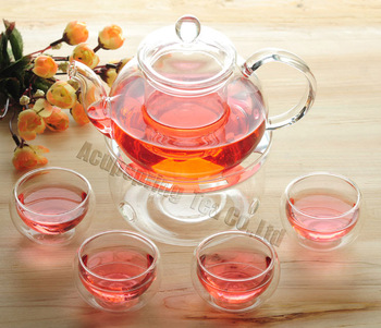 600ml Glass teapot with infuser/filter+ 4/6  Double-wall Glass Cups + Warmer+candle,tea set for herbal/flower/black/puer tea