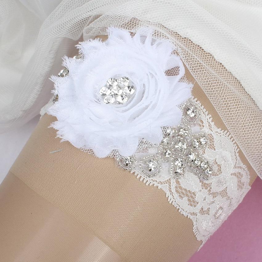 Garters Wedding: White Wedding Garter Rhinestone Beaded Flower Bridal