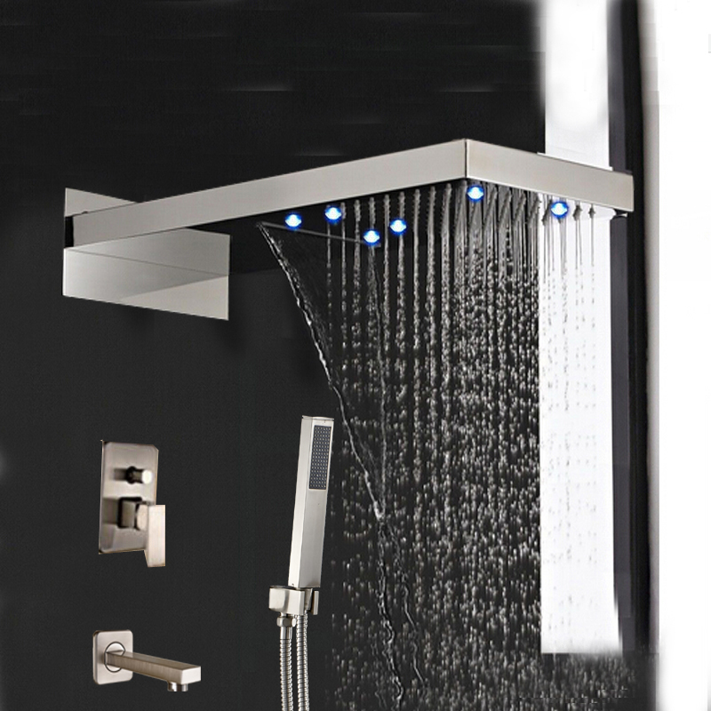 Popular 3 Handle Tub Shower Faucet Brushed Nickel Buy Cheap 3