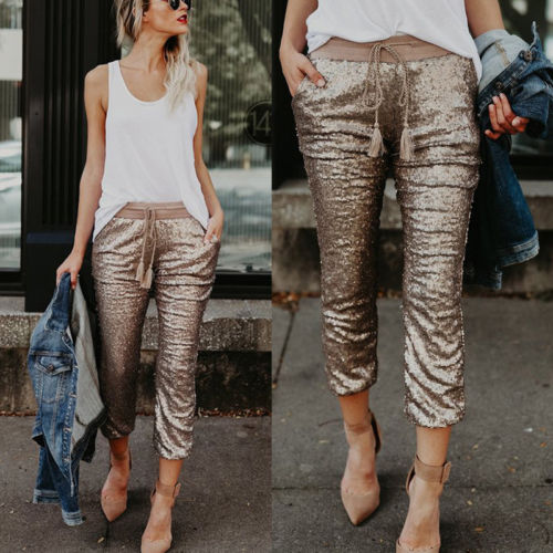 Women Sequins Trousers Shiny Sequin Party Elastic Waist Drawstring High Street Long Pants
