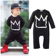 Newborn Baby Girls Boys Long Sleeve Crown Print Romper Jumpsuit Baby Clothes 0-18M
