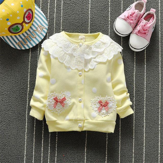 BibiCola New Spring Kids Baby Girls Coats Bow tie Jacket Princess Small Children Girls Sunflower Tutu Coat Baby Girls Jacket