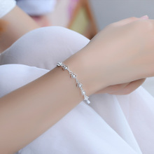 TJP Cute Crystal Stones Women Silver Bracelets Jewelry Latest Fashion 925 Anklets For Girl Party Accessories Lady Bijou