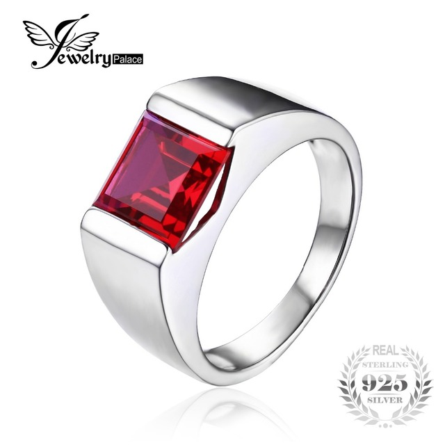 JewelryPalace Men's Square 3.3ct Red Created Ruby Pure 925 Sterling Sliver Engagement Ring Brand New Jewelry Ring For Men Gift
