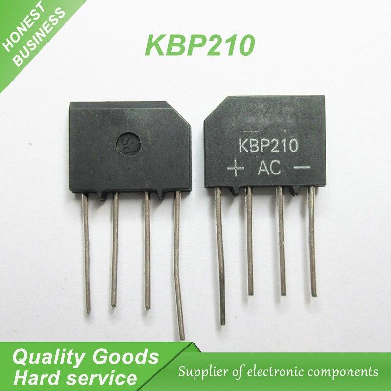 10pcs KBP210 ZIP Bridge Rectifiers 1000V 2A new original