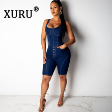 XURU summer new denim jumpsuit fashion camisole five points casual one-piece shorts