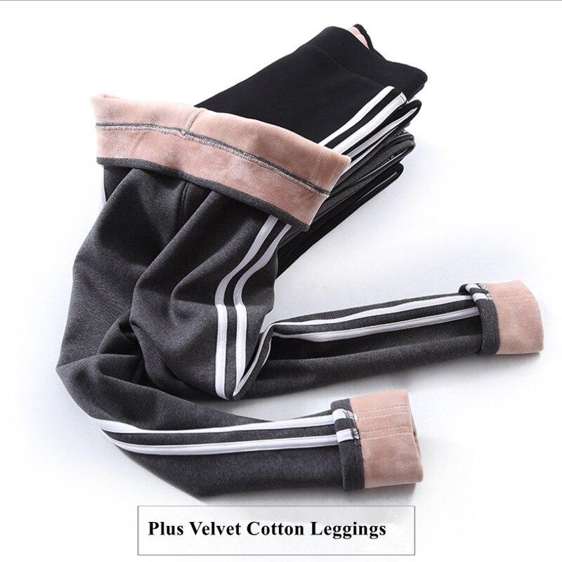 2019 Autumn Winter Cotton Velvet Leggings Women High Waist Side Stripes Sporting Fitness Leggings Pants Warm