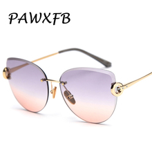 PAWXFB 2019 New Gradient Cat eye Sunglasses Women Fashion High quality UV400
