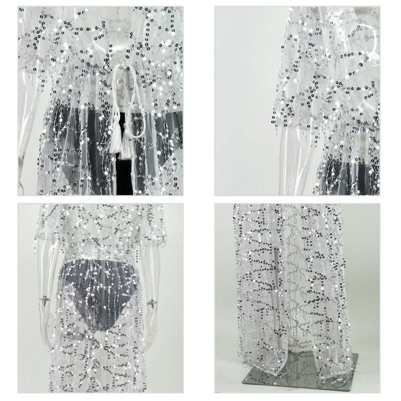 Malla Lentejuelas Ver Cubierta Largo Mujeres blanco Camisa Kimono Borla Cabo Top Camisas A Transparente Sexy De Playa Cardigan Plage Las Negro Través YgaIw
