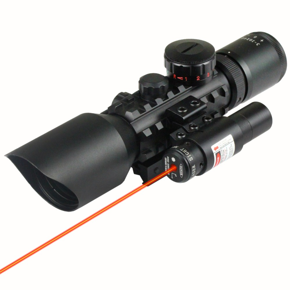 Tactical 3-10x 40 Red&Green Mil-Dot Reticle Sight Rifle Scope With Red Laser Hunting Scopes 20mm Rail 3 10x42 red laser m9b tactical rifle scope red green mil dot reticle with side mounted red laser guaranteed 100%