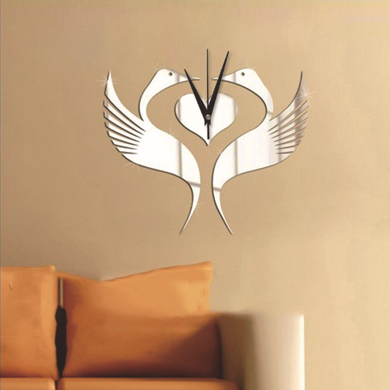 s diy clock white swan swan bell mirror wall clock personality bridal wedding room cygnus