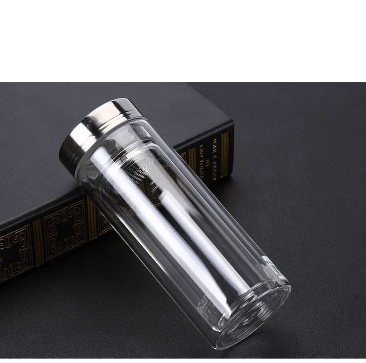 1PC 300ml Double glass bottle with transparent filter and lid heat resistant glass water bottle KD 1463