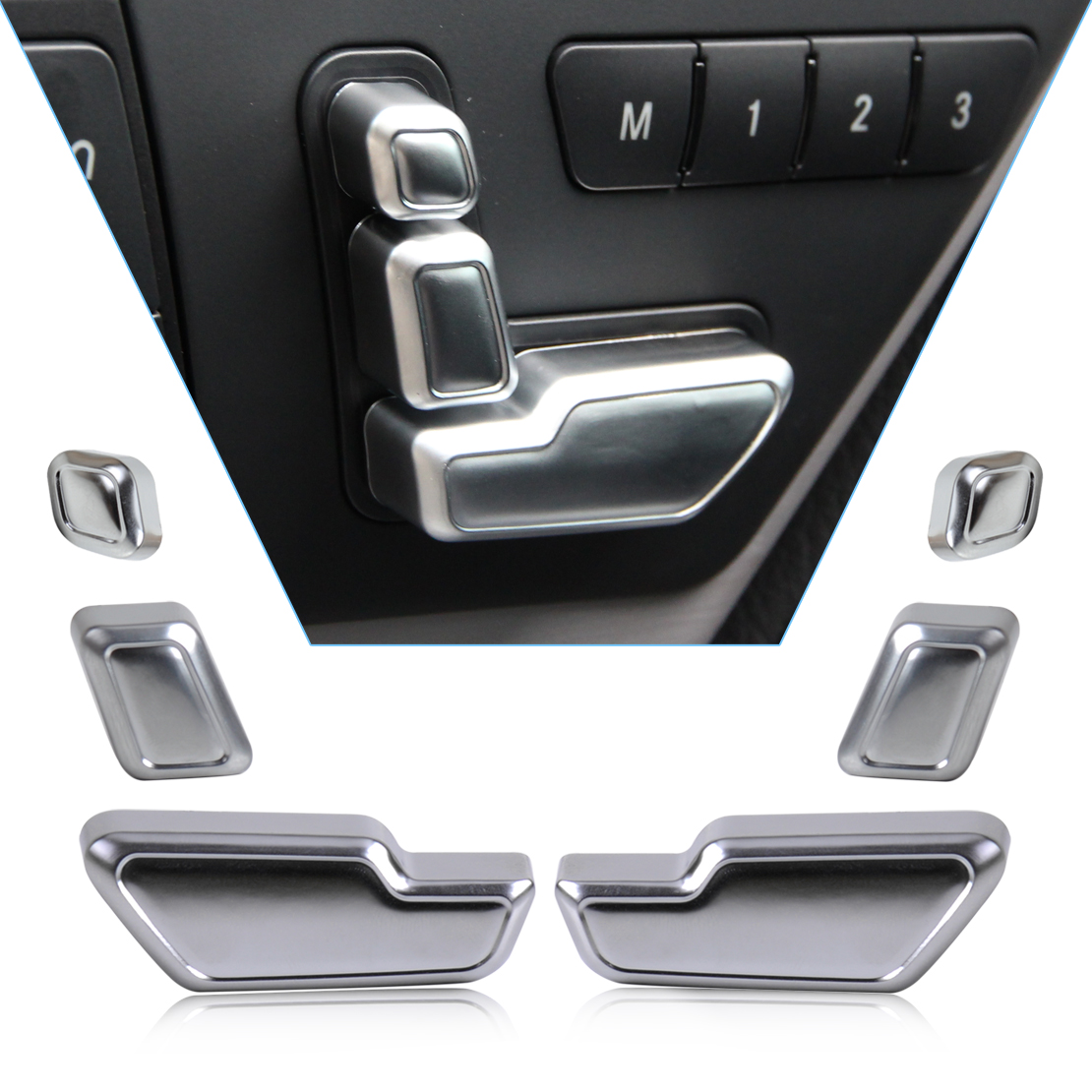 dwcx chrome door seat adjust button switch cover trim for mercedes benz c e gl cls class w212. Black Bedroom Furniture Sets. Home Design Ideas