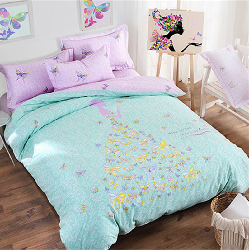 Elegant 4pcs Cotton Bedding Set Butterfly Bed Sheets Sets Full Queen Size 2m*2.3m  Duvet Cover Set For Adults Kids Bedroom Dropshipping In Bedding Sets From  Home ...