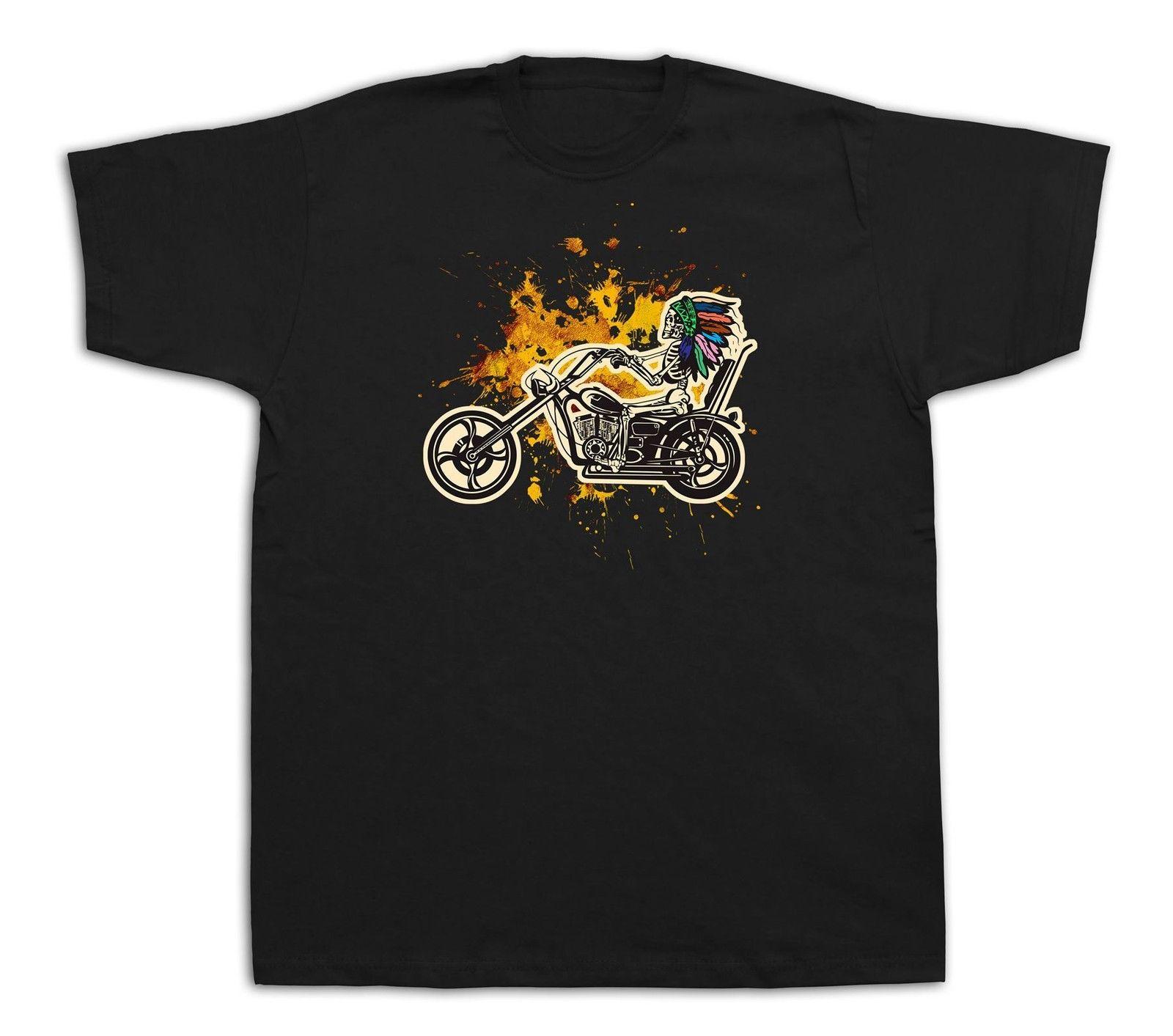 Native Skeleton Indian Motorcyle Chief Headdress Shirt 100% cotton