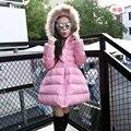 Мода белая утка вниз детей зимние куртки для девочек с капюшоном вниз & парки твердого Красивая верхняя одежда для принцессы S-22