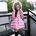 De moda de pato blanco abajo niños chaquetas de invierno para niñas con capucha de down y parkas solid Hermoso prendas de vestir exteriores de la princesa S-22