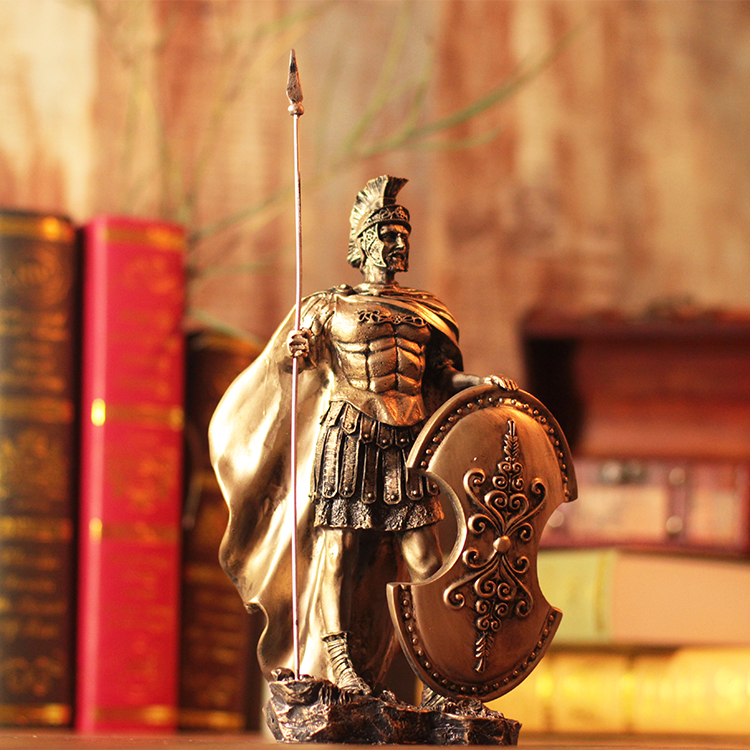 28cm Height Polyresin Ancient Greek/Roman Warrior Armor model Creative Home Table Decration Aircraft Gift