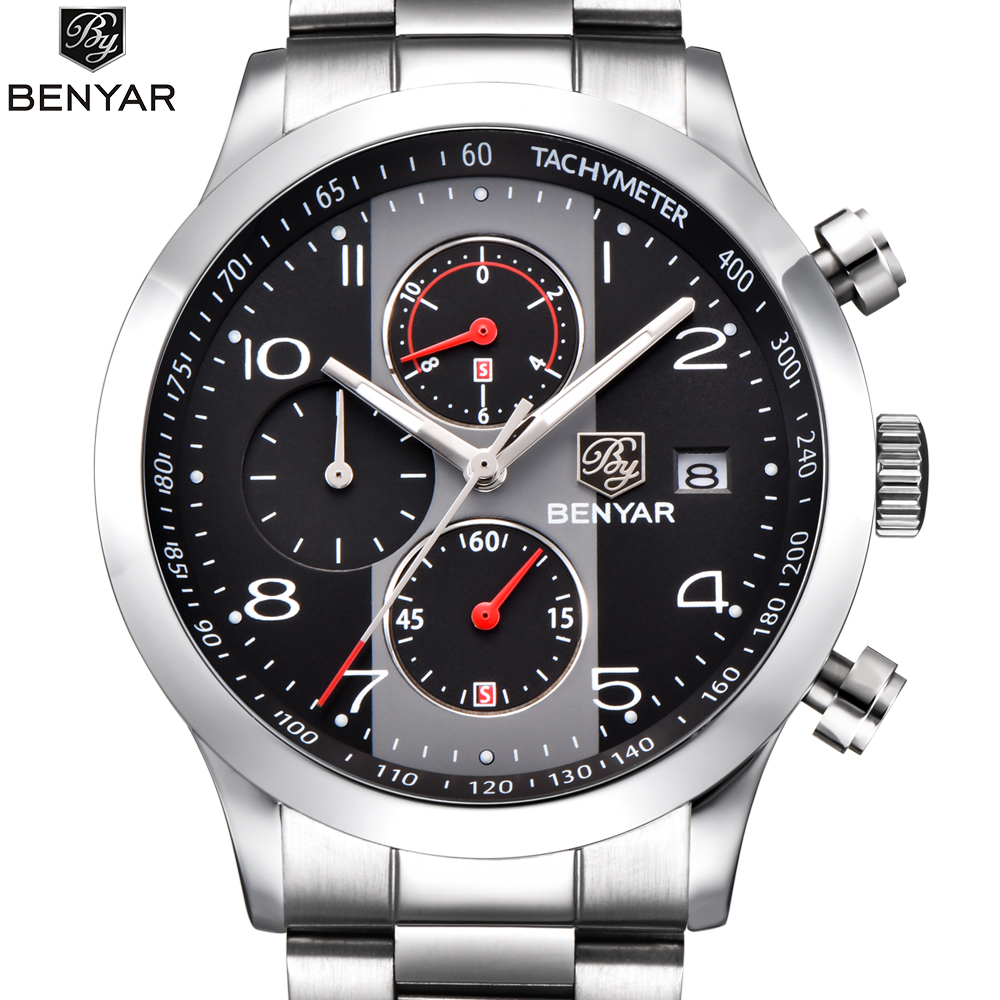 BENYAR Watch Men Fashion Sport Quartz Clock Mens Watches Top Brand Luxury Full Steel Business Waterproof Watch Relogio Masculino weide popular brand new fashion digital led watch men waterproof sport watches man white dial stainless steel relogio masculino
