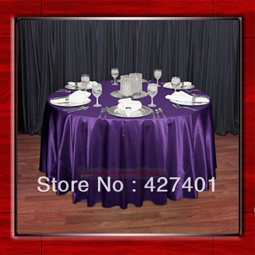 hot sale purple 54 round shaped poly satin table cloth tablecloths table overlay for wedding. Black Bedroom Furniture Sets. Home Design Ideas