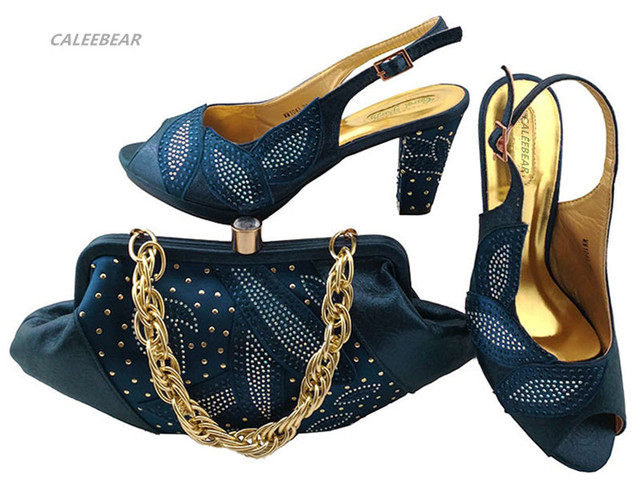 Latest Dark Blue Color Italian Shoes With Matching Bag Set Decorated Rhinestone African Wedding Shoe