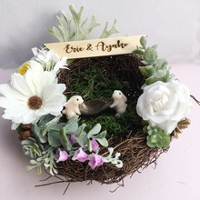 1pcs lot Forest Nest flower Engagement Ring Pillow Party decoration photo prop ring bearer personalized wedding holder