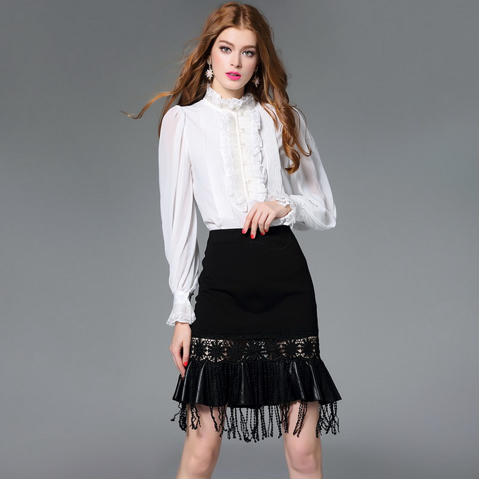 Women's Blouses Loose Elegant Long Sleeve Chiffon Silk Blouse Tops Lace Vintage Ruffled Shirt Bead Button Women Clothing Blusas mara alee women lace blouses off the shoulder tops black shirt blusas plus size women clothing mesh tops summer we943