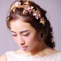 Rosa Borboleta Flor fio de Ouro de casamento da noiva tiara cocar coroa de casamento sweet girls cabelo macio desgaste