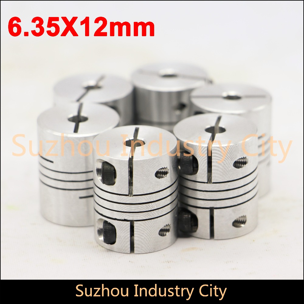 6pcs CNC Stepper motor shaft connector 6.35 x 12mm Flexible Shaft Coupling Clamp Coupler Connector Diameter 30mm Length 35mm image
