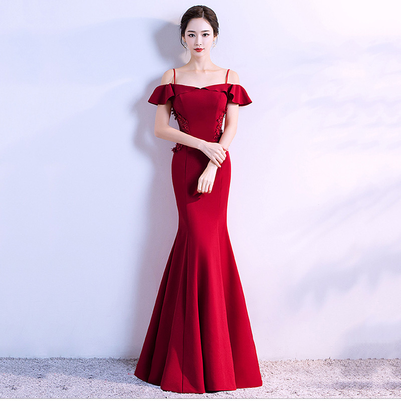 Corstory Red Bridal Sexy Off SHoulder Mermaid Red Slash Neck Long Mermaid Party Club Dress Elegant Vestido De Festa