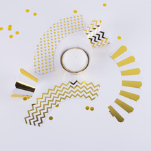 108pcs Foiled Cupcake Wrappers/Holders Metallic Gold Mixed Chevron Polka Dots & Stripes Liners Wedding Birthday Decor