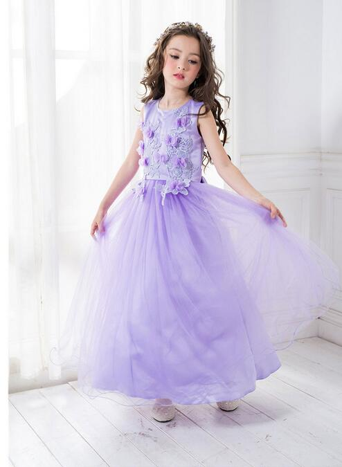 Violet First Communion Dresses For Girls 2017 Brand Tulle Lace Infant Toddler Pageant Flower Girl Dresses for Weddings and Party