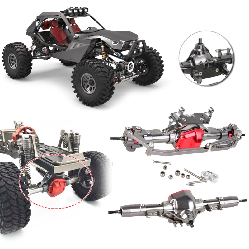 купить 1 Set 1/10 Rc Car Complete Alloy Front and Rear Axle CNC Machine for 1:10 Rc Crawler AXIAL SCX10 RC4WD D90 Truck Car Parts по цене 4670.07 рублей