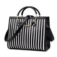 Striped Pattern Ring Round Handbag New Fashion Brand Bag Ladies Leather Shoulder Bag Bolsa Feminina Metal
