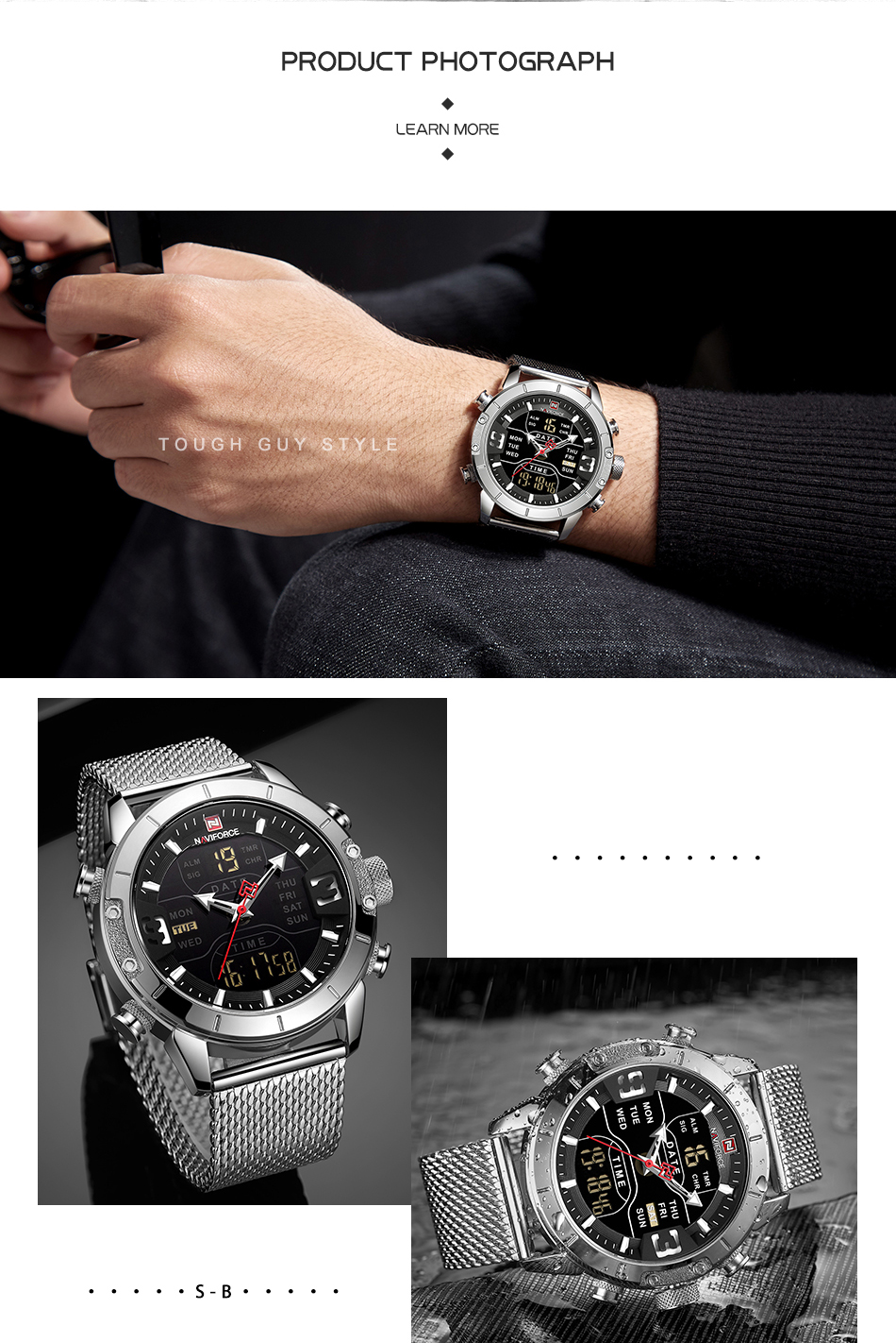 NAVIFORCE 2019 Men Military Waterproof LED Quartz Sport Watches Military Stainless Steel Mesh Male Business Relogio Masculino  (7)