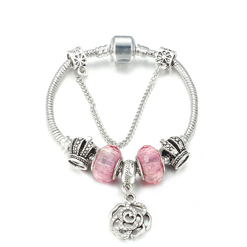 Hot Sale Silver Color Charms Bracelet & Bangles With Queen Crown Beads Pandora Bracelet for Women Girls Jewelry Gift