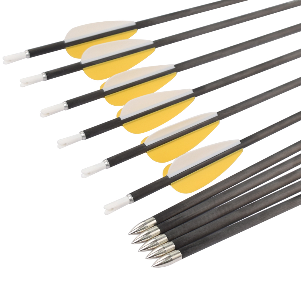 12 pcs 30 inch Archery Carbon Arrows Fixed Bullet Point for Archery Bow Recurve Bows Shooting