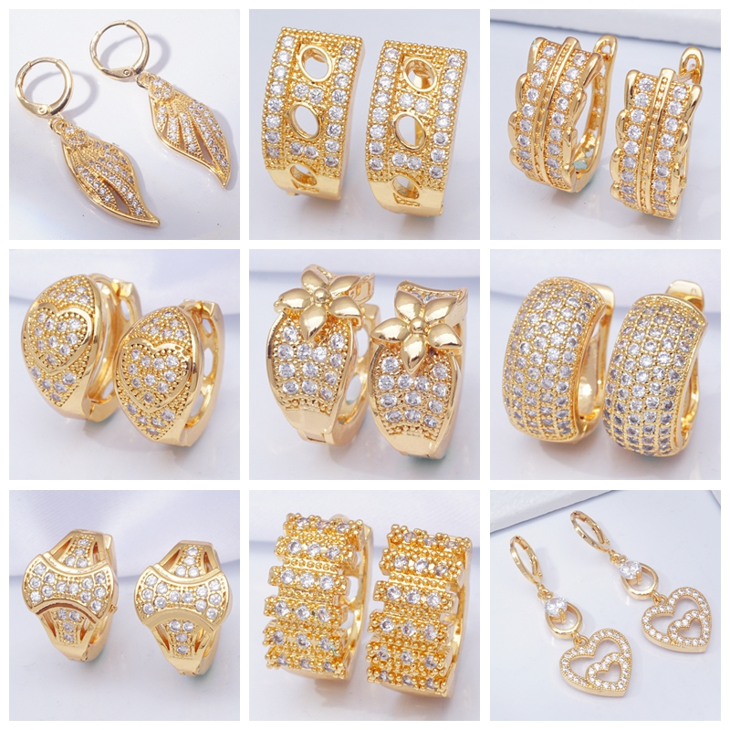 Earings Jewelry Zircon Circle Micro-Pave Rhinestone Gold-Filled Round 20-Styles Fashion