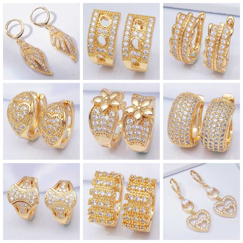 Earings 20 Styles Round Circle Hoop Earrings for Women Gold Filled Micro Pave Rhinestone Zircon Fashion Jewelry Dropshipping