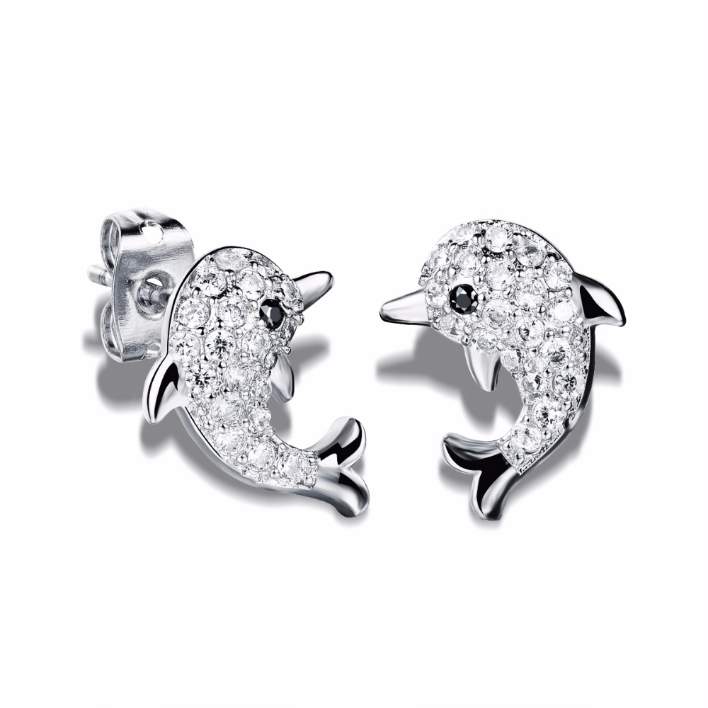 Shiny Cz Cute Dolphin Cluster Earrings 2016 Cubic Zirconia Designer Stud  Earring For Women Gold Color