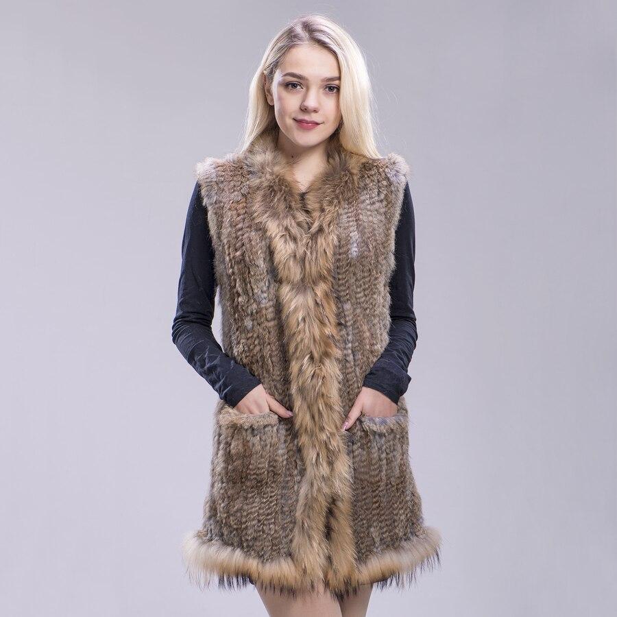 ZDFURS* natural rabbit fur knitted vests raccoon fur trimming  quality lady fur jackets underwaist sleeveless fur vest gilets