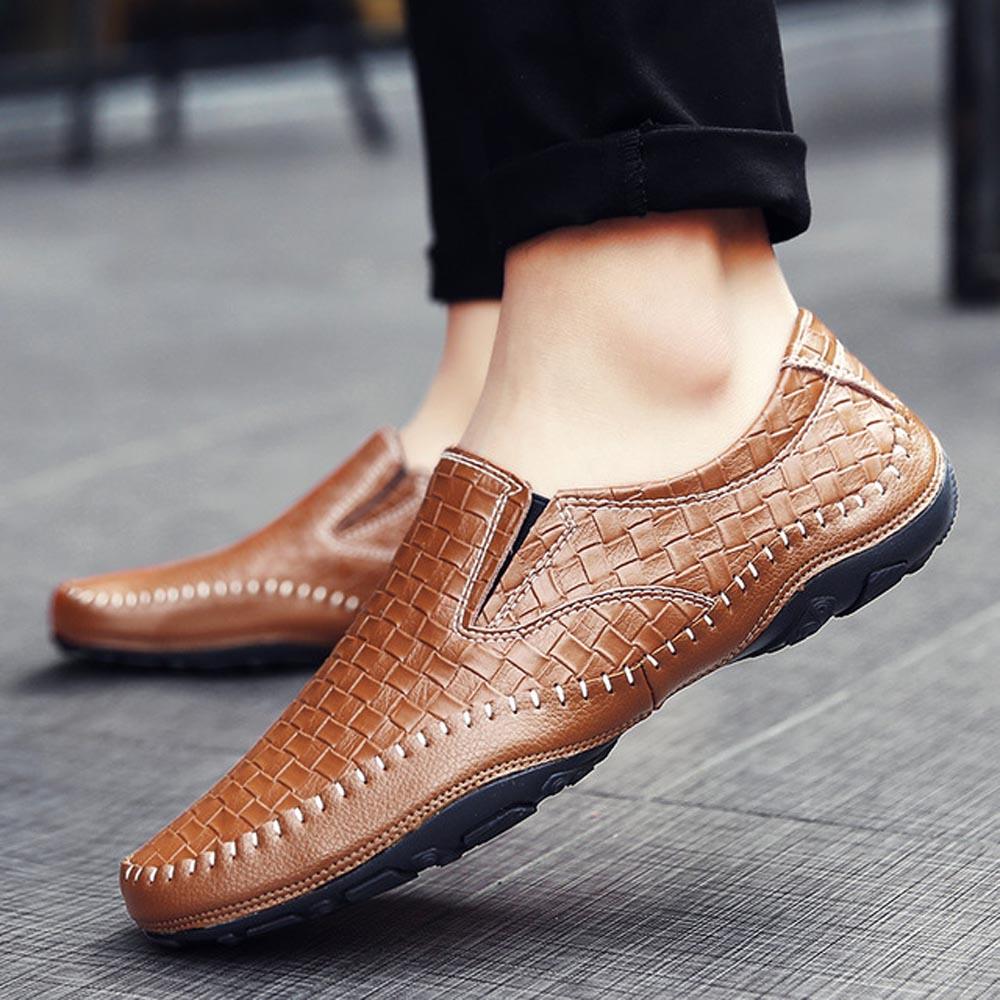 Sapatos De blue Mocassins Italianos Qffaz Flats brown 2019 Trança Preguiçosos Black Condução Dos Homens Casual Para Oxfords Couro HgwBq