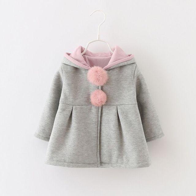 Moda cálida ropa de invierno bebé ropa de abrigo niños chicas del oído de conejo de lana bebé de la capa