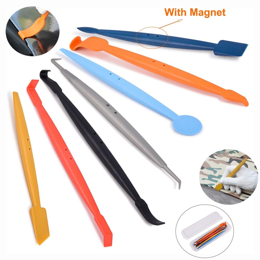 FOSHIO 7pcs Vinyl Car Wrapping Set Magnet Squeegee Wrap Stick Accessories Carbon Fiber Film Scraper Window Tint Tool
