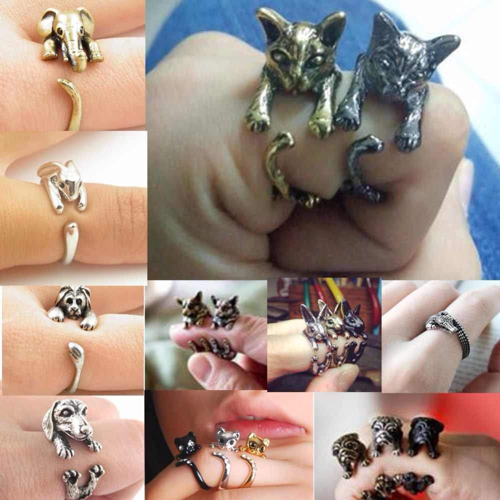 QIAMNI Handmade Cute Animal Ring for Women Men Cat Wolf Lion Rabbit Horse Dog Ring Birthday Jewelry Pet Lover Gift Accessories
