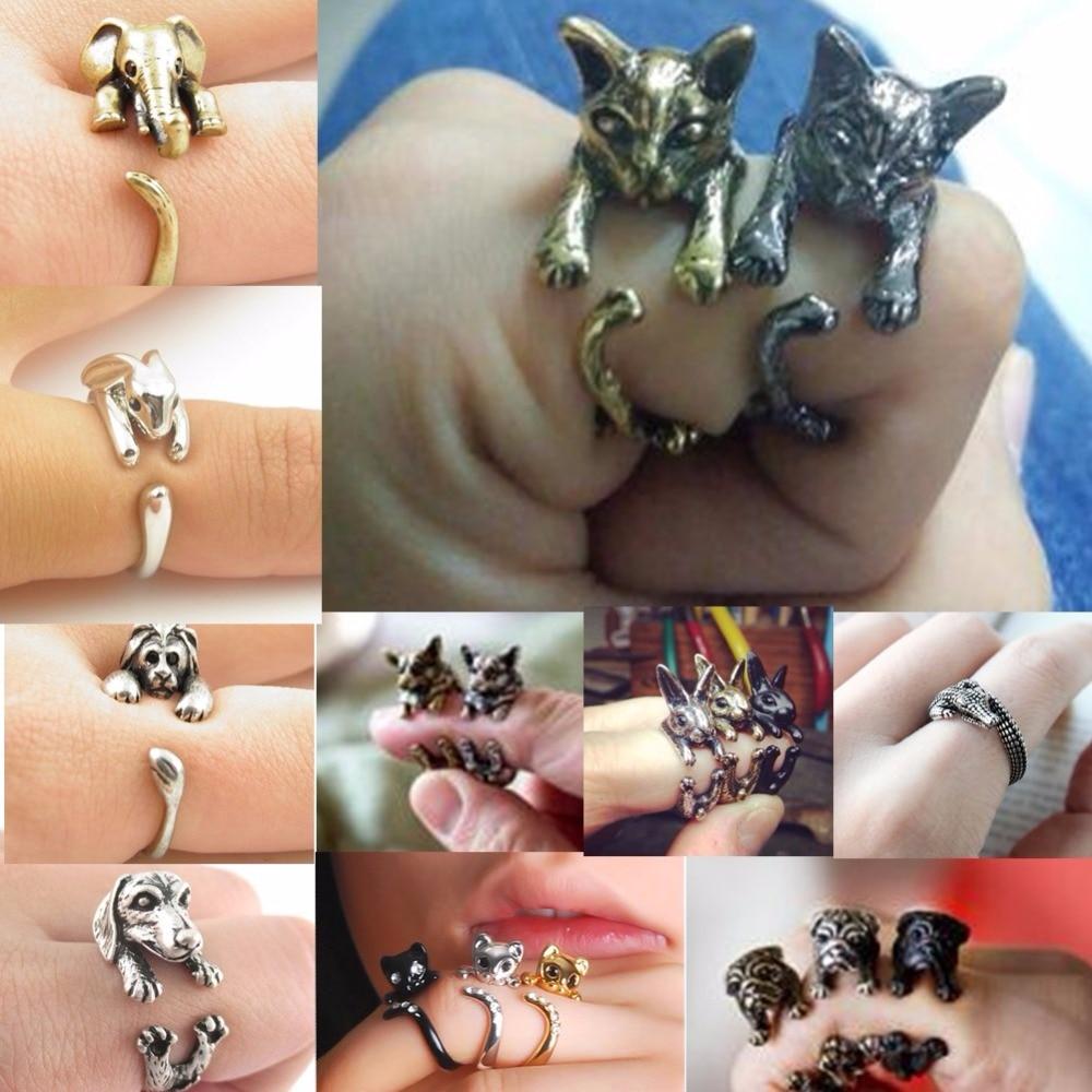 QIAMNI Handmade Cute Animal Ring for Women Men Cat Wolf Lion Rabbit Horse Dog Ring Birthday Jewelry Pet Lover Gift Accessories figurine