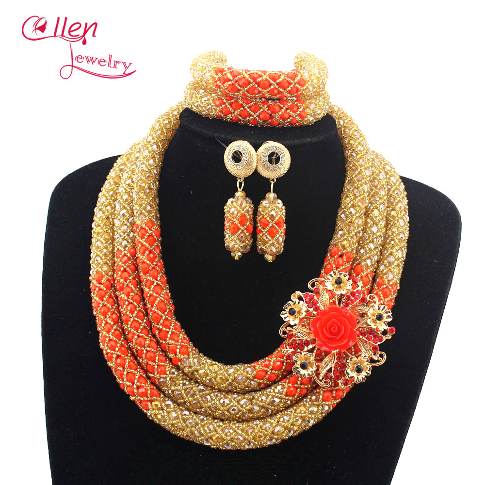 цена Stylish nigeria wedding Nigerian Wedding African Beads Jewelry Set Handmade Indian Bridal Necklace Sets Bracelet Earrings N0015 онлайн в 2017 году