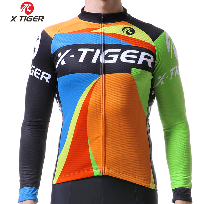 X-TIGER Cycling Clothing Long Sleeves Men Cycling Jersey Riding Bike Clothes Breathable Mountain Bike Clothes Outdoor Sportswear