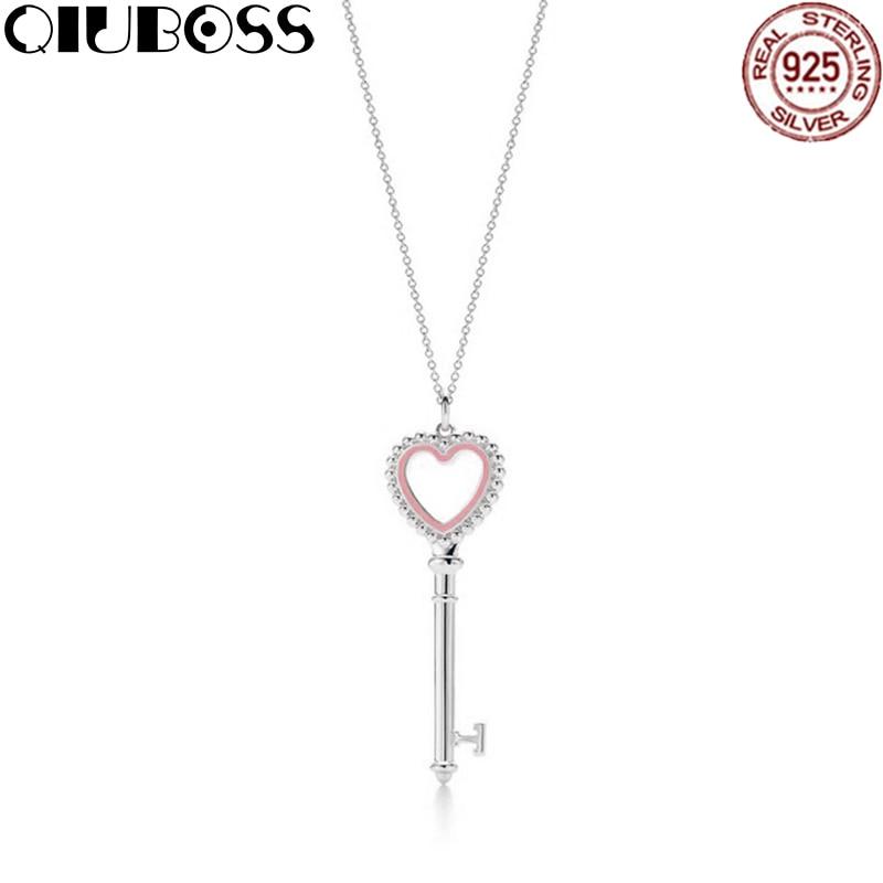 QIUBOSS TIFF 925 Streling silver Trendy Heart Pendant Pink key Charm Bead Women Necklace Jewelry trendy solid color heart pendant necklace for women