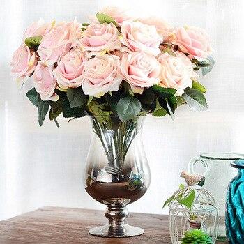 10 головок розы Искусственные цветы французская роза букет Шелковый цветок для свадьбы дома вечерние искусственный цветок для декорировани... >> amorobe Official Store